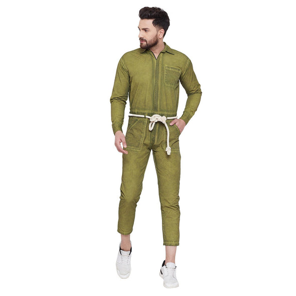 Olive Full Sleeves Pigment Washed Jumpsuit Jumpsuit - Fugazee
