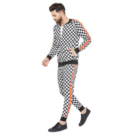 Checkered Print Taped Combo JogSuit Suits - Fugazee