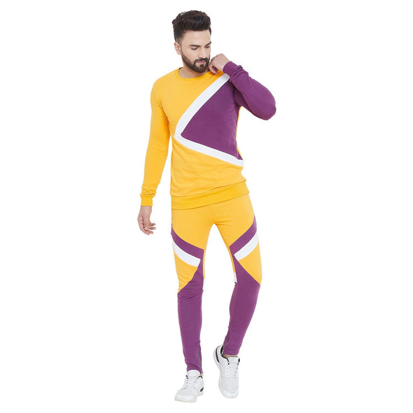 Yellow & Purple Cut & Sew Sweatshirt And Joggers Combo Suit Suits - Fugazee
