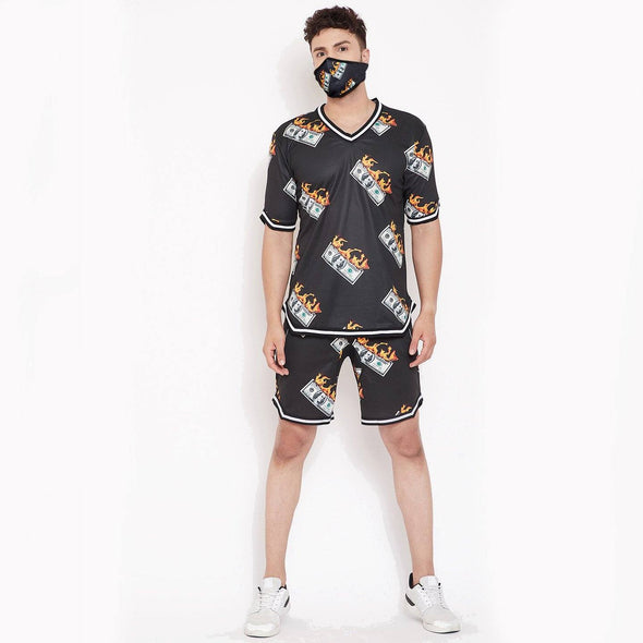 Dollar BasketBall Tshirt and Shorts Combo Suit with Matching Mask