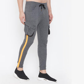Charcoal Cargo Neon Orange Taped Joggers Joggers - Fugazee