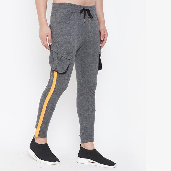 Charcoal Cargo Neon Orange Taped Joggers