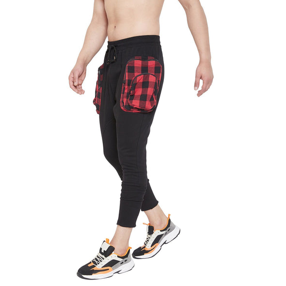 Black Jogger With Plaid Oversized Pockets
