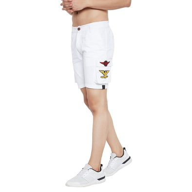 White Patched Cargo Shorts Shorts - Fugazee