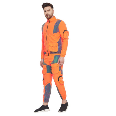 Orange Nylon Rainbow Reflective Cargo Tracksuit