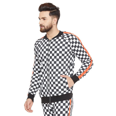 Checkered Print Taped Sweatshirt Sweatshirts - Fugazee