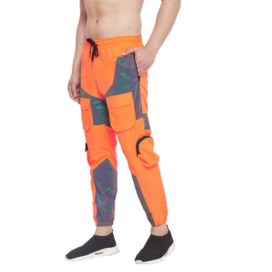 Orange  Rainbow Reflective Cargo Trackpants