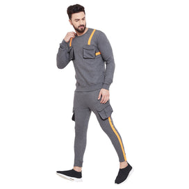 Charcoal Taped SweatShirt & Cargo Joggers Combo Suit Suits - Fugazee