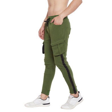 Olive Cargo Taped SweatPants Joggers - Fugazee