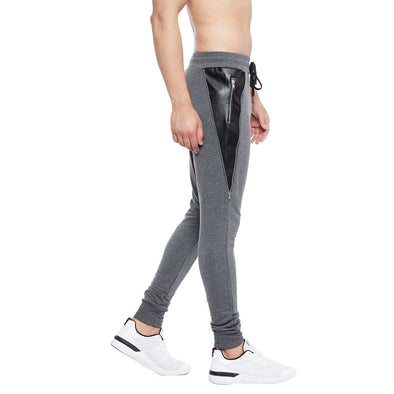 Charcoal Faux Leather Zipped Joggers Joggers - Fugazee