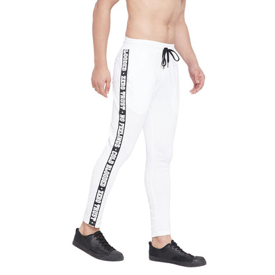 White Taped Sweatpants Joggers - Fugazee