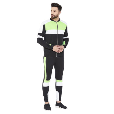 Black Neon Biker Bomber Jacket and Sweatpants Combo Jogsuit Suits - Fugazee