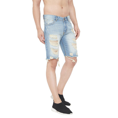 Blue Denim Distressed Shorts