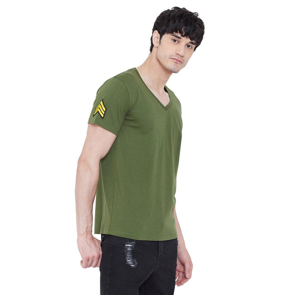 Olive Patched V-Neck Tee T-Shirts - Fugazee