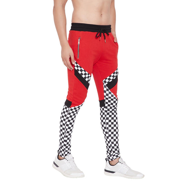 Red Checkered Cut & Sew Sweatpants Joggers - Fugazee