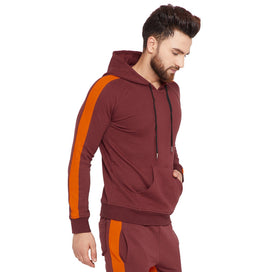 Wine Contrast Taped Hooded Sweatshirt OUTERWEAR - Fugazee