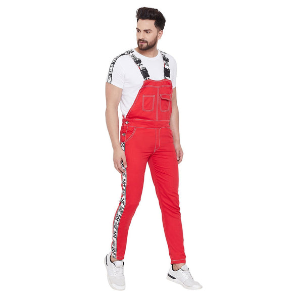 Red Taped Full Length Dungaree Dungarees - Fugazee