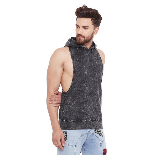 Acid Washed Hooded Stringer Vest Vest - Fugazee