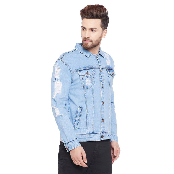 Ice Destroyed Denim Jacket OUTERWEAR - Fugazee