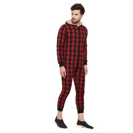 Red Checkered Onesie with Hooded Fur Lining