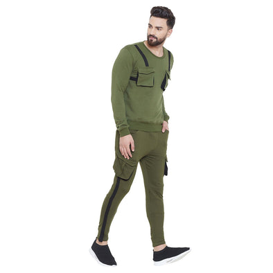 Olive Taped SweatShirt & Cargo Joggers Combo Suit Suits - Fugazee