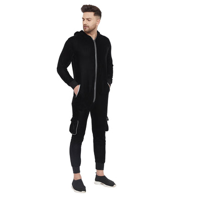 Black Velour Reflective Zipped Onesie