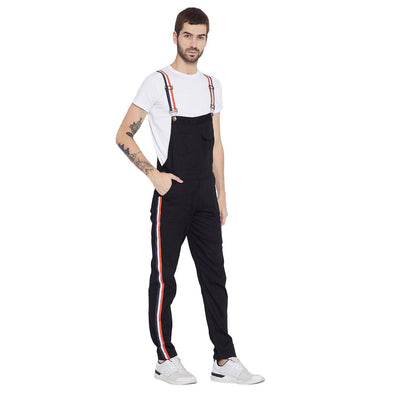 Black Tapped Full Dungaree Dungarees - Fugazee
