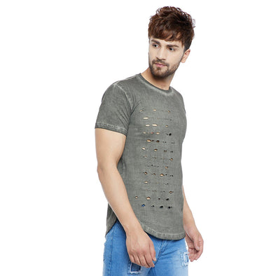 Olive Distressed Pigment Washed Tee T-Shirts - Fugazee