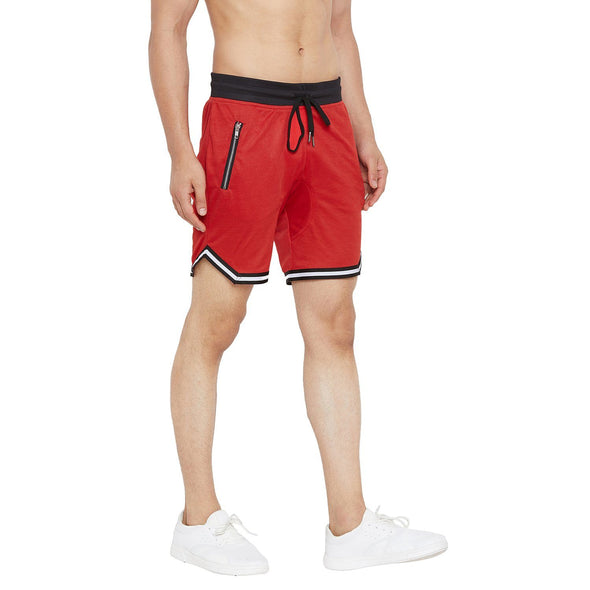 Red Mesh Taped Shorts Shorts - Fugazee