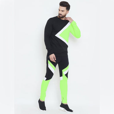 Black & Neon Cut & Sew Sweatshirt And Joggers Combo Suit