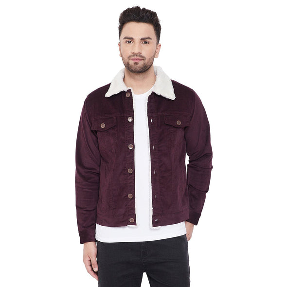 Wine Corduroy Faux Fur Jacket