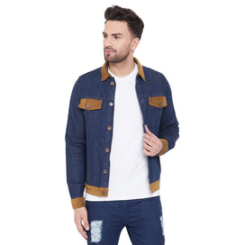 Blue Denim Jacket With Corduroy Accents Jackets - Fugazee