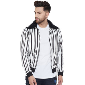 White Stripped Fur Collar Bomber Jacket