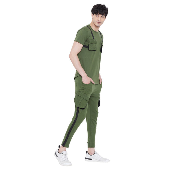 Olive Chest Pocket Taped  T Shirt and Cargo Joggers Combo Suit Suits - Fugazee
