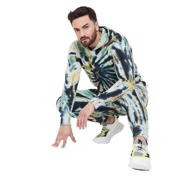 Olive & Black Tie Dye Sweatshirt and Sweatpants Combo Jogsuit Suits - Fugazee