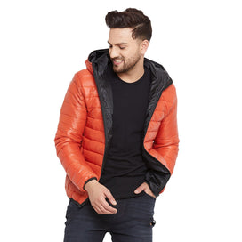 Rust Quilted Puffer Hooded Jacket