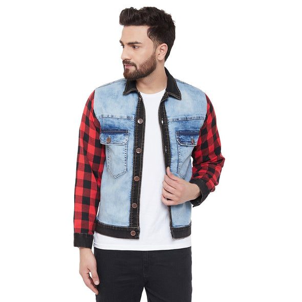 Denim Jacket with Checkered Flannel Sleeves Jackets - Fugazee
