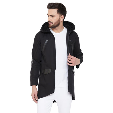 Black Faux Fur Hooded Parka Jacket Jackets - Fugazee