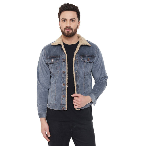 Denim Washed Faux Fur Corduroy Jacket Jackets - Fugazee