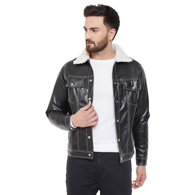 Fur Collar Faux Leather Jacket Jackets - Fugazee