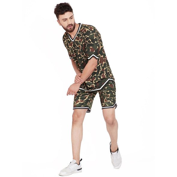 Camo Mesh BasketBall Tshirt and Shorts Combo Suit