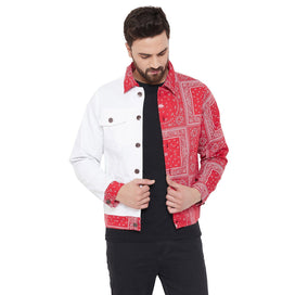 Red Paisley Print Twill Jacket Jackets - Fugazee
