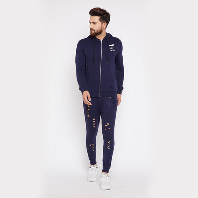 Navy Ripped Combo JogSuit Suits - Fugazee
