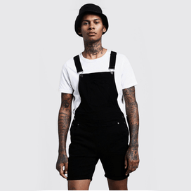 All Black Knee Length Dungaree Dungarees - Fugazee