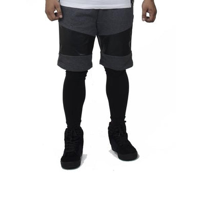 Charcoal Faux Leather Shorts - Fugazee