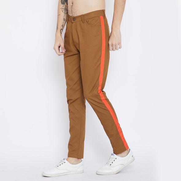 Earth Brown Taped Chinos Trousers - Fugazee