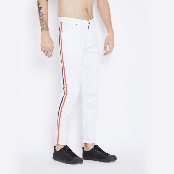 White Taped Chinos Trousers - Fugazee