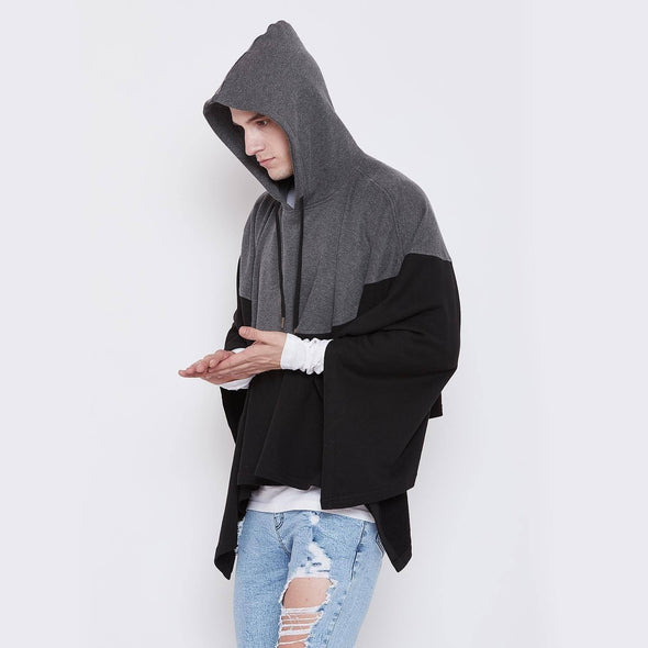 Charcoal On Black Hooded Poncho OUTERWEAR - Fugazee