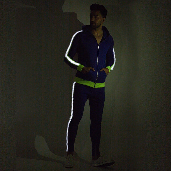 Blue Neon Reflective Taped Sweatshirt and Sweatpants Combo Jogsuit Suits - Fugazee