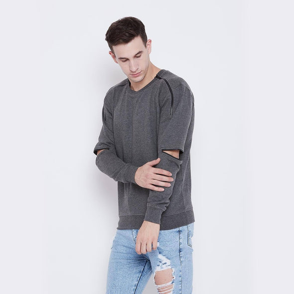 Charcoal Elbow Zipped Sweatshirt OUTERWEAR - Fugazee